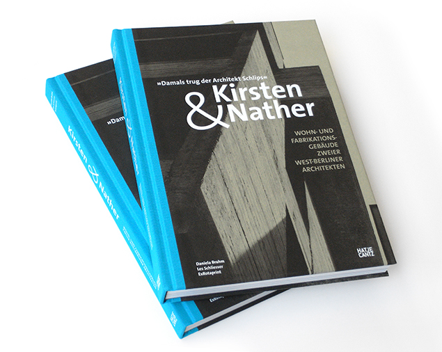 Katalog »Kirsten & Nather, Wohn- und Fabrikationsgebäude zweier West-Berliner Architekten« Hatje Cantz 2015, 272 pages, German, 245 illustrations, ISBN 978-3-7757-4068-5 Edited by Daniela Brahm, Les Schliesser / ExRotaprint Texts by Frank Seehausen, Alexander Hoff, Gundula Lang, Elmar Kossel, Daniela Brahm, Les Schliesser, Thomas Steigenberger Design by Daniela Brahm, Carsten Eisfeld