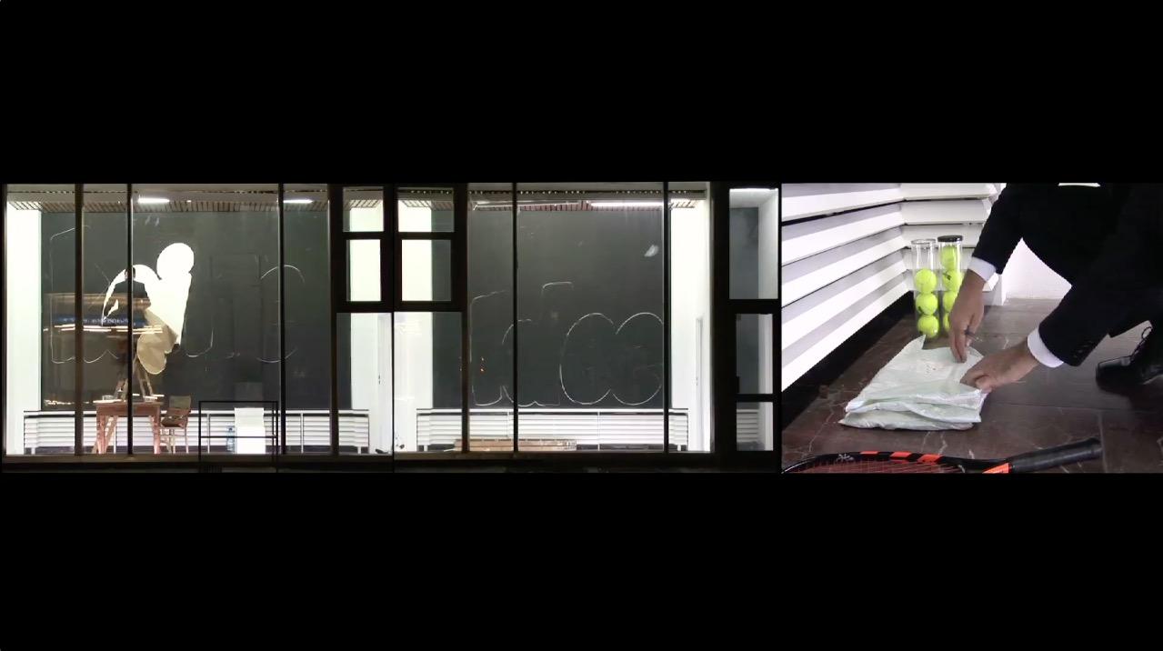 Les Schliesser – »Cafe Moskau, Keine Idee…« Video 3-teilig auf Monitoren, Wandarbeit, Farbe, Kreide, Tennisbälle, Licht