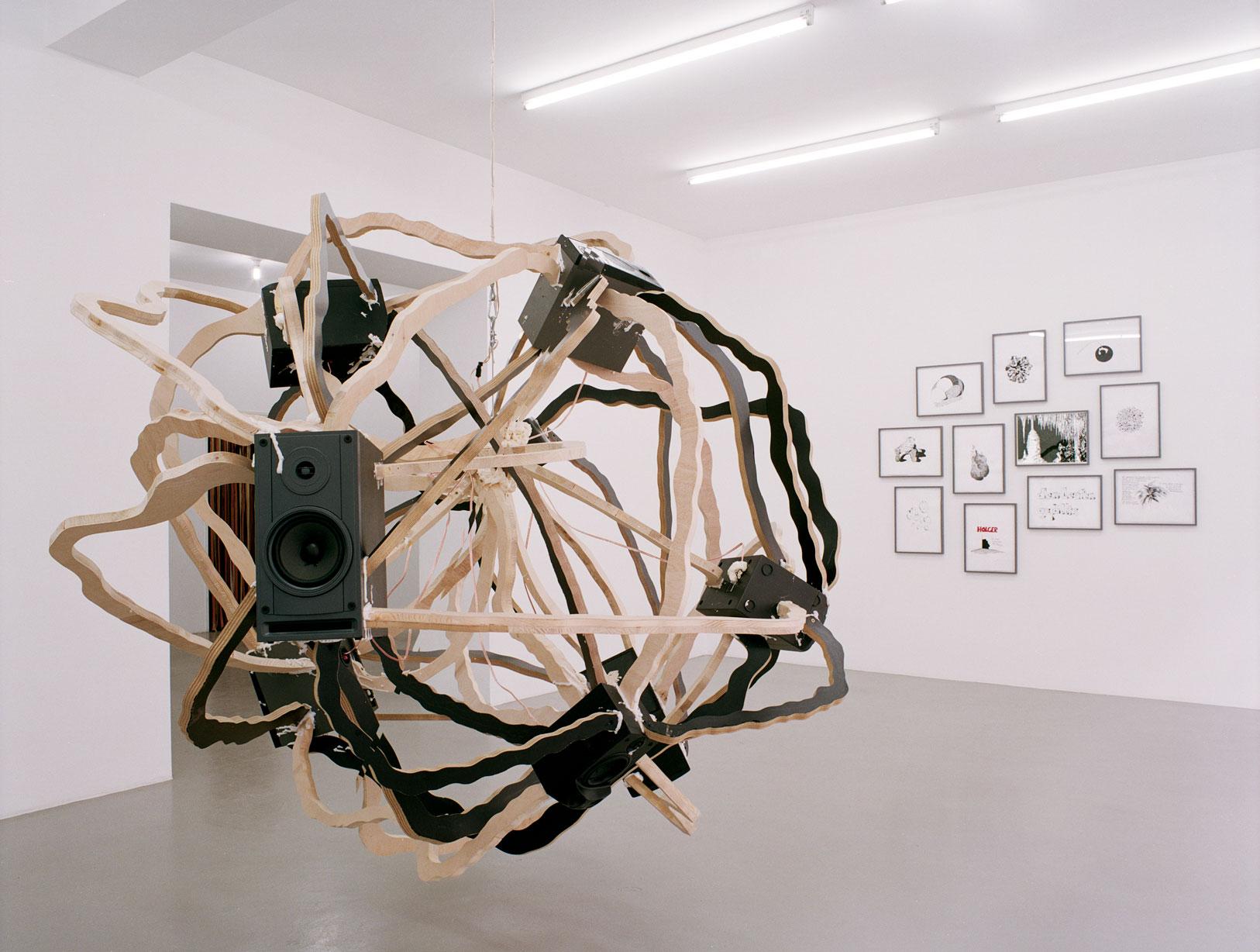 Les Schliesser – »Warum nicht..ig keit«, Ausstellungsansicht mit »Complaining Potatoe« und »Potatoe Drawings« 2004, Galerie Mirko Mayer, Köln