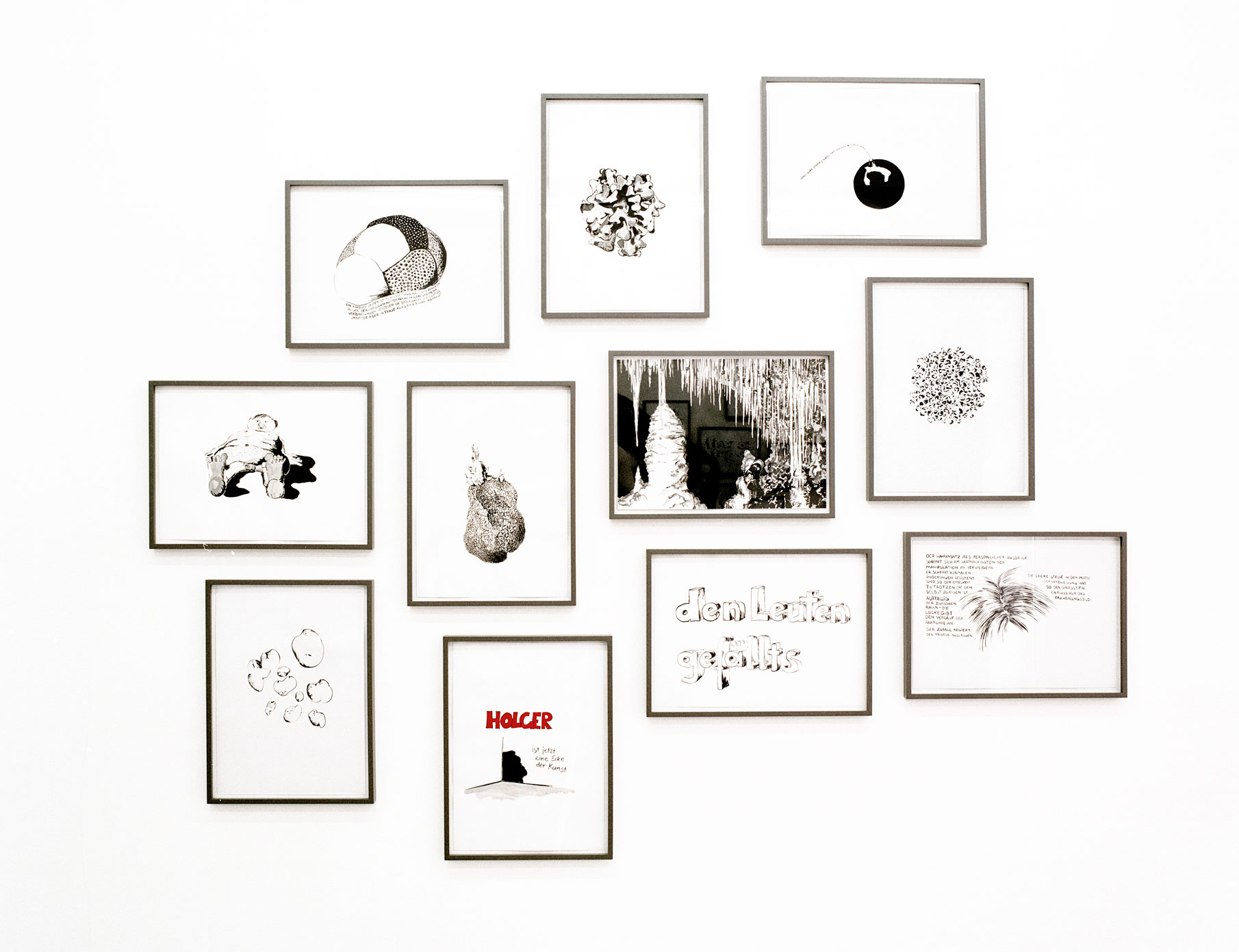 Les Schliesser – »Warum nicht..ig keit«, Ausstellungsansicht mit »Potatoe Drawings«, 2004 Galerie Mirko Mayer, Kön